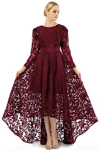SHANGSHANGXI Women's Lace Court Wedding Formal Occasion Dress with Chapel Train Burgundy,US14
