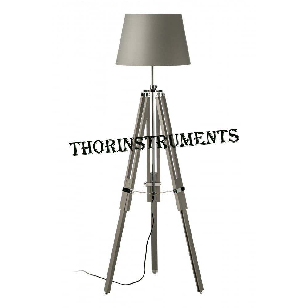 Thor Instruments Co Grey Wood and Chrome Tripod Floor Standing Lamp