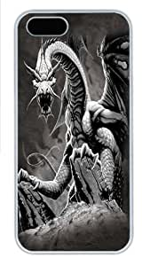 Black Dragon Polycarbonate Hard Case Cover for iPhone 5/5S White
