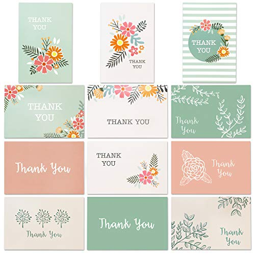 Best Paper Greetings 96-Pack Thank You Note Cards Bulk Box Set with Envelopes - 12 All Occasion Assorted Floral Designs, 4 x 6 Inches]()