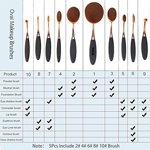 Yoseng-Oval-Foundation-Brush-5-Pcs-Toothbrush-makeup-brushes-Fast-Flawless-Application-Liquid-Cream-Powder-Foundation