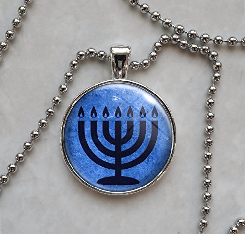 Blue 7 Branch Temple Menorah Pendant Necklace