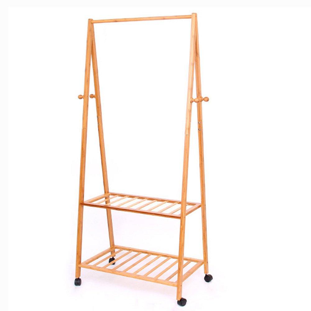 C 70CM GWDJ Coat Rack Multifunction Simple Bamboo Coat Rack Modern Floor-Standing Bedroom Movable Hanger Simple Hang Clothes Shelves Coat Rack Shelf (color   C, Size   70CM)