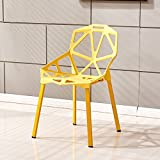 European style dining table chair / modern minimalist chair / plastic backrest chair / creative fashion table and chair combination ( Color : Yellow )