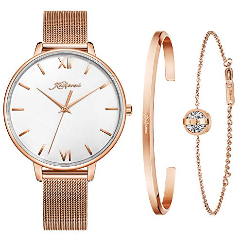 Kaifanxi Women's Quartz Wristwatch Minimalist Modern Design Watch with Gift Bracelet for Ladies Sapphire Crystal Glass Rose Gold Case and Classic Mesh Band (Rose Gold)
