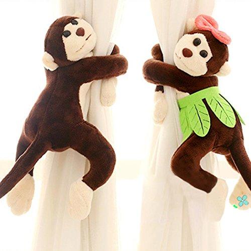 FUA® 1 Pair Children Room Nursery Naughty Play Monkey Curtain Tie Back Tiebacks (Coffee )