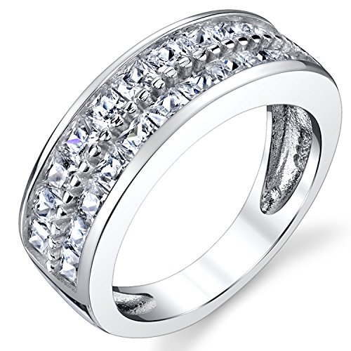 - Double Row Princess Cut Men's Sterling Silver Wedding Band Engagement Ring with Cubic Zirconia 7.5mm Size 10
