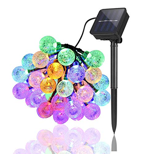 Areskey Solar Bubble Ball String Lights,16.5Ft 50 LED Crystal Globe Fairy String Lights,8 Modes Colorful Outdoor Waterproof Rope Lighst for Outdoor, Patio,Xmas,Yard,Garden,Christmas,Wedding Decoration