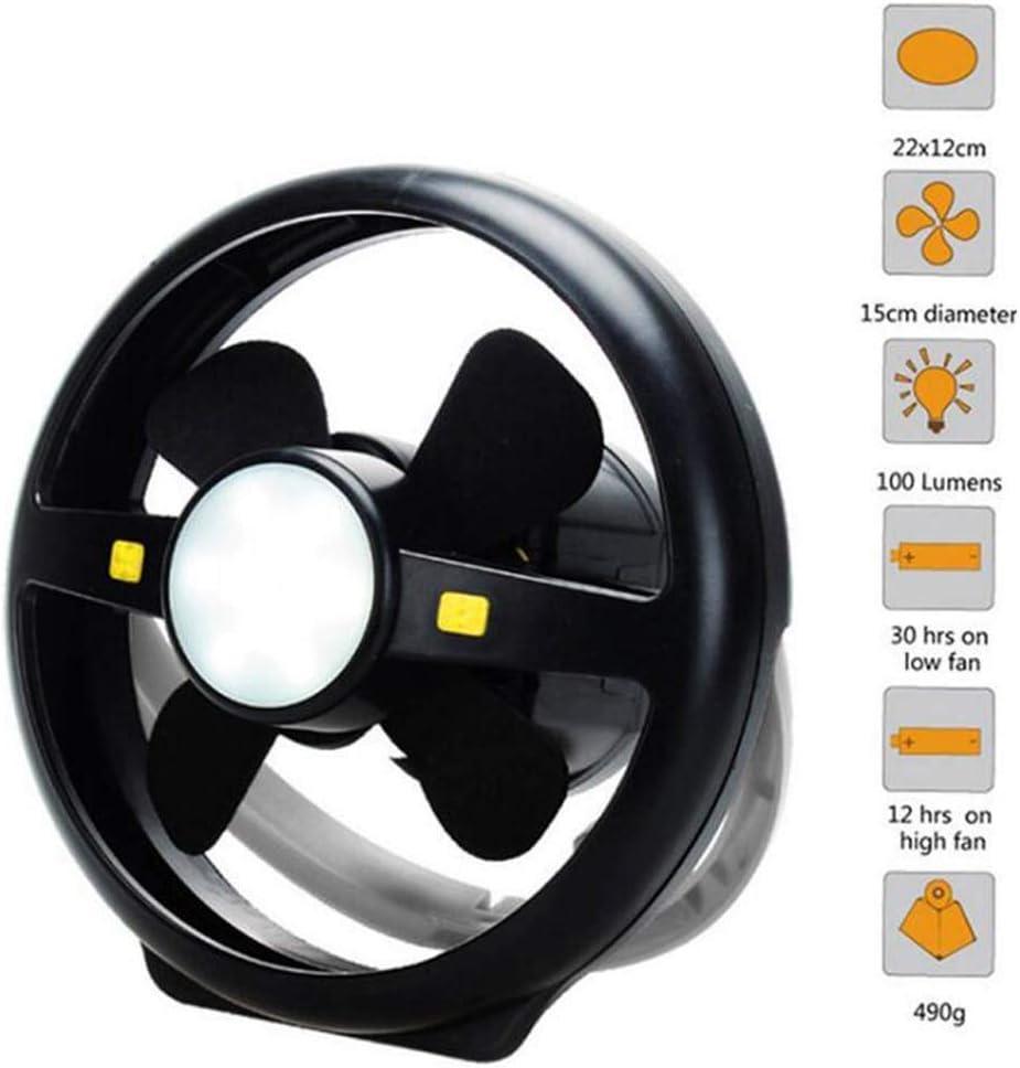 Ventilador LED para linterna de camping, Portátil 2in1 USB recargable Ventilador multifunción Luz de la tienda colgante Lámpara, Mini ventilador de escritorio con gancho