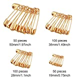 Bememo 300 Pieces Heavy Duty Gold Safety Pins with