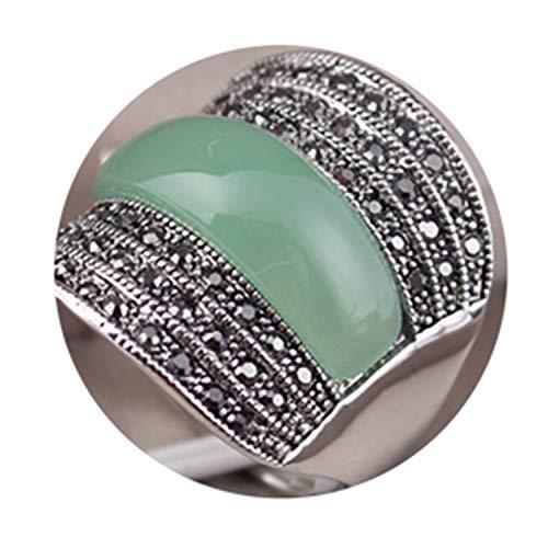 Original Jewelry Green/Black/Red Stone Geometric Vintage Rings for Women with Black Rhinestones Bijoux ()
