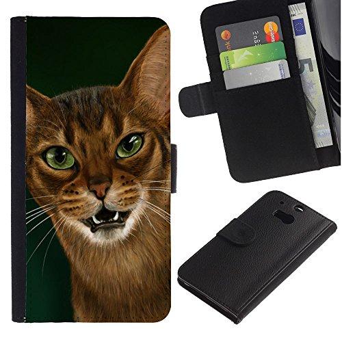 OMEGA Case / HTC One M8 / Cornish rex Abyssinian ocicat / Cuero PU Delgado caso Billetera cubierta Shell Armor Funda Case Cover Wallet Credit Card