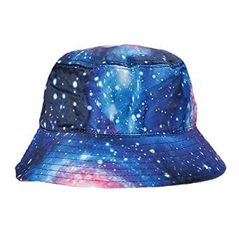 ZLYC High Quality Galaxy Bucket Hat Fisherman Outdoor Cap for Men Women (Blue)