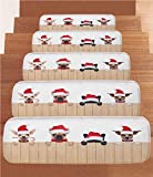 iPrint Non-Slip Carpets Stair Treads,Christmas,Group of Santa Claus Dogs Over Wooden Fences Humor Animals Noel Puppies Pet Graphic,Tan Red,(Set of 5) 8.6''x27.5''