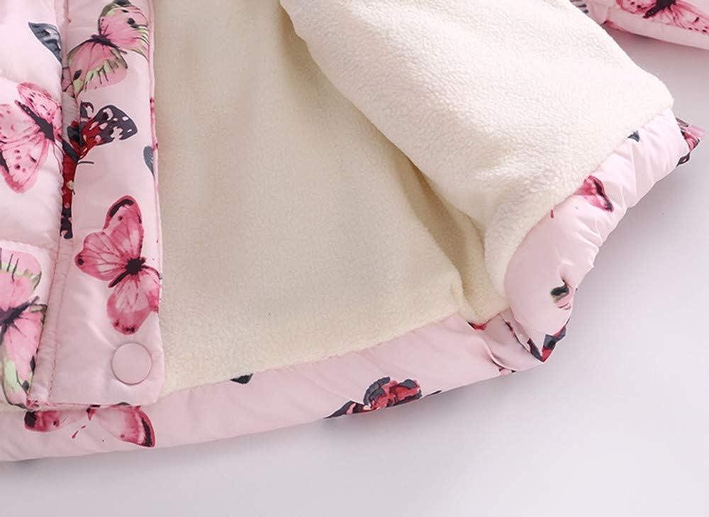 KONFA Teen Toddler Baby Girls Winter Warm Clothes,Fur Hooded Jacket Wind Coat,Kids Floral Butterfly Snowsuit Set