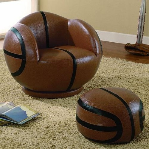 Kids Sports Basketball Chair and Ottoman Set by Coaster