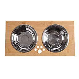 FOREYY Raised Pet bowls for Cats and Small Dogs - Bamboo Elevated Dog Cat Food and Water Bowls Stand Feeder with 2 Stainless Steel Bowls and Anti Slip Feet - Patent Pending