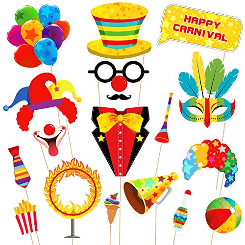 Amosfun 18PCS Carnival Photo Booth Props Carnival Party Favors Wedding Birthday Carnival Bachelorette Acessories -