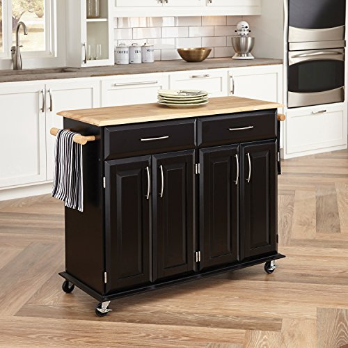 Homestyles 2 Drawer Cabinet - Dolly Madison Black Kitchen Cart by Home Styles