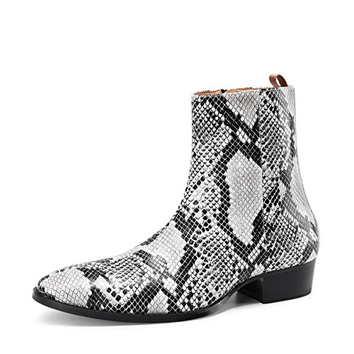 jinfu Mens Leather Multi Color Pull On Side Zipper Chelsea Ankle Boots Motorcycle Shoes gHUzptF