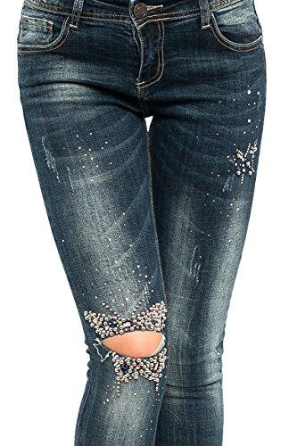 PSA0463 Damen Jeans Denim Röhrenjeans Damenjeans Röhre Hüft Jeans Strech Perlen
