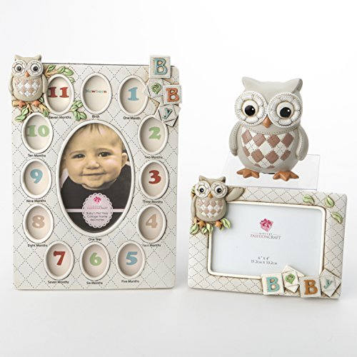 Nursery Room Decor Set - Includes First Year Collage Picture Frame, 6x4 Oval Photo Frame & Baby's First Piggy Bank - The Perfect Baby Shower Gift (OWL) by Fashiocraft