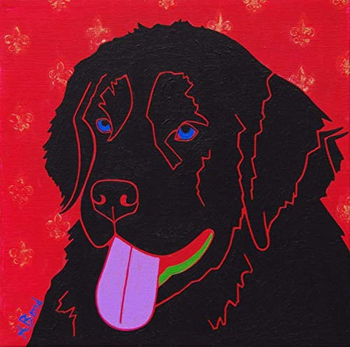 - Newfie Dog Art - Newfoundland MATTED Print Colorful Dogs by Angela Bond