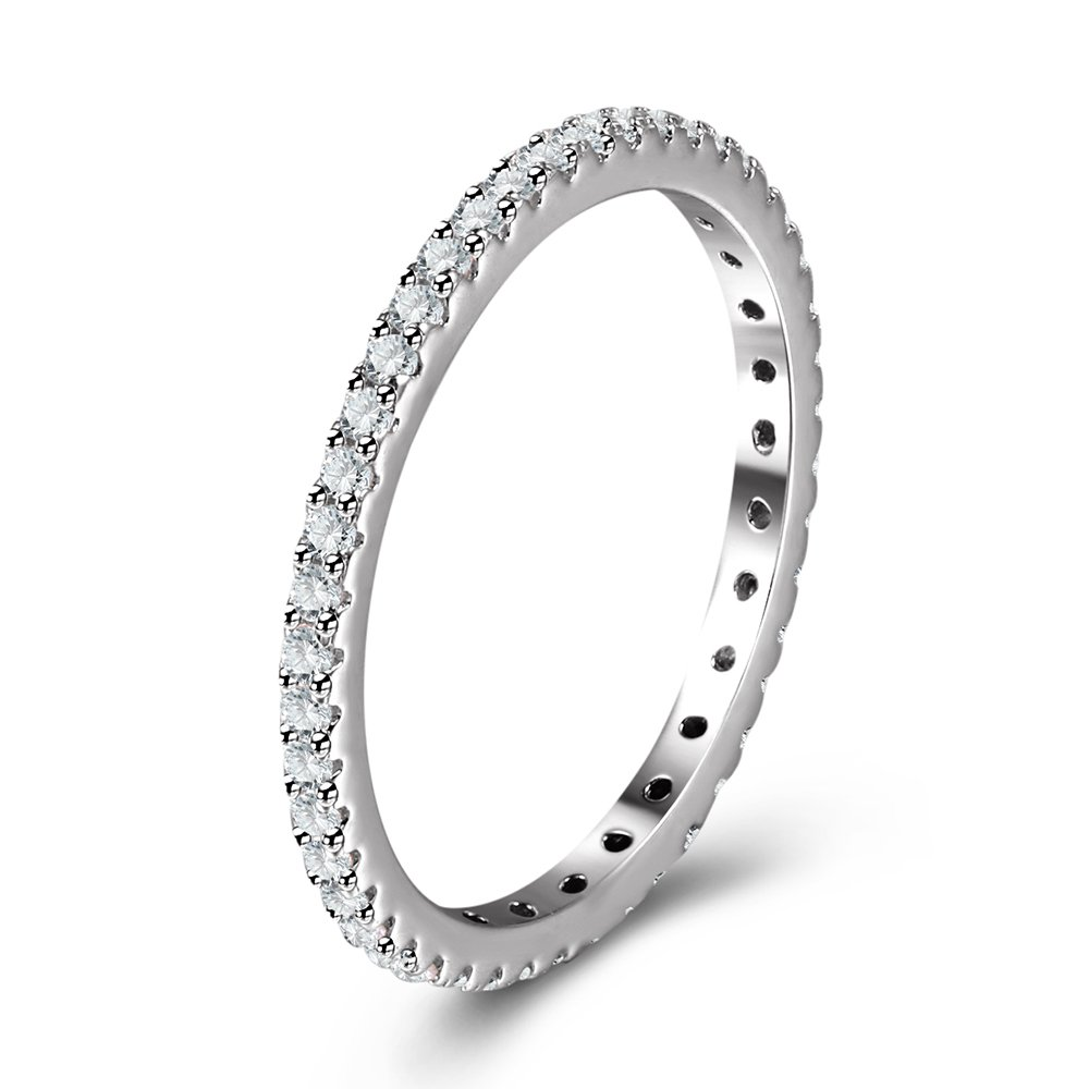 Full Micropave Thin Band Dainty Stacking Ring Wedding Band Rhodium Plating Size 4