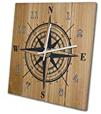 made in usa wood clock - OldBleu Nautical Compass Wall Clock, 12 Inch, Solid Wood, Non-Ticking, Silent, Made In USA (slate gray, white)