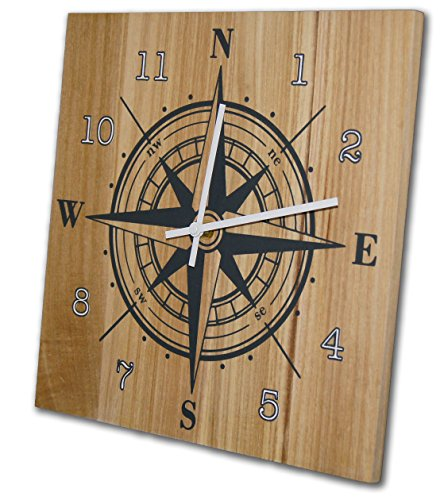 Nautical Compass Wall Clock, 12 Inch, Solid Wood, Non-Ticking, Silent, Made In USA (slate gray, white) - Compass Wall Clock
