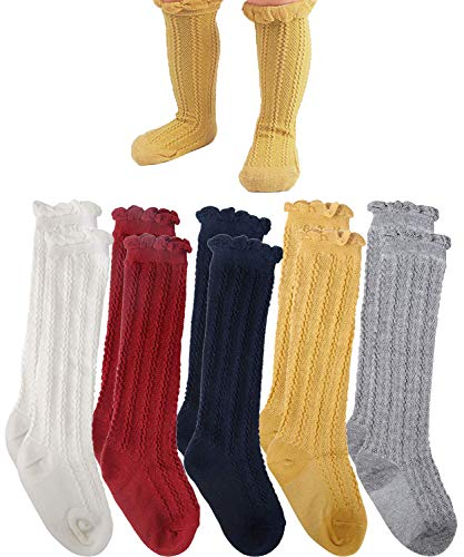 Alva Edison Cable-Knit Knee High Cotton Socks For Baby Girls,Toddlers/&Child,5 Colors