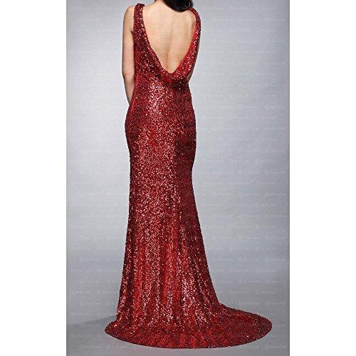 bei Design Damen Maxi Festamo Ital Kleid Rot Für Ball CHPWwqS