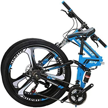 Eurobike OBK G4 26 Full Suspension Folding Mountain Bike 21 Speed Bicycle Men or Women MTB Foldable Frame