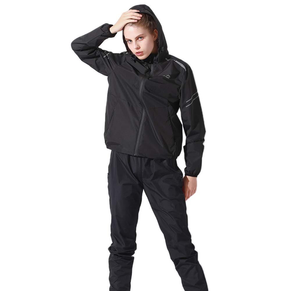 JHion レディース スポーツスーツ ランニング スリミング サウナスーツ 減量 脂肪燃焼 汗 ワークアウト 耐久性 長袖 Large ブラック B07JXZ3Q69