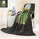 YOYI-HOME Lightweight Duplex Printed Blanket Look at The Scenery Through The Window Warm Microfiber All Season Digital Printing Blanket/59 W by 47'' H