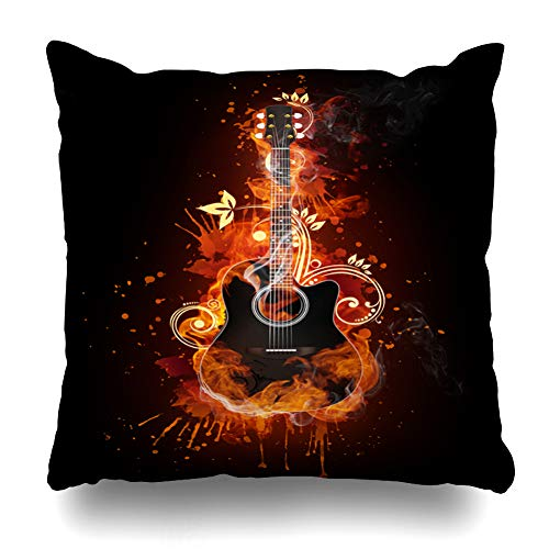 Ahawoso Decorative Throw Pillow Cover Creativity Red Instrument Acoustic Guitar Fire Pattern Music Burning Electric Flame Back Design Shiny Home Decor Pillowcase Square Size 18