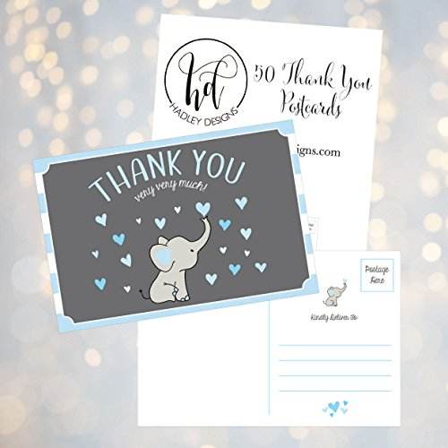 50 4x6 Elephant Boy Baby Shower Thank You Postcards Bulk, Beautiful Modern Cute Boho Blue Blank Thanks Note Card Stationery Appreciation Set Photo #2