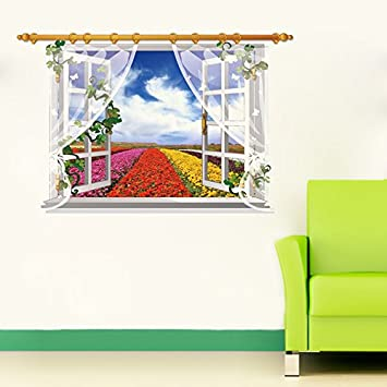 d1f10ea78f7 Buy SYGA 3D Window View Colorful Flowers Decals Design Wall Stickers  SK FUYU B Online at Low Prices in India - Amazon.in
