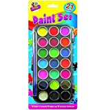 Art Box 21 Colours Water Paint Set with Paint Brush and Rigid Case Kid Craft Set