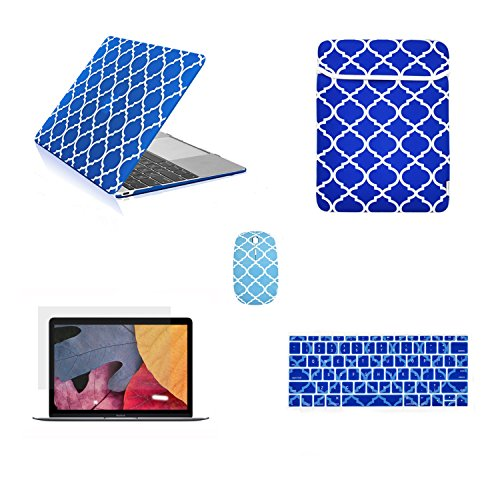 """TOP CASE - 5 in 1 Bundle Quatrefoil Rubberized Hard Case + Keyboard Cover + LCD Screen Protector + Sleeve Bag + Mouse Compatible with MacBook Retina 12"""" Model A1534 - Royal Blue"""