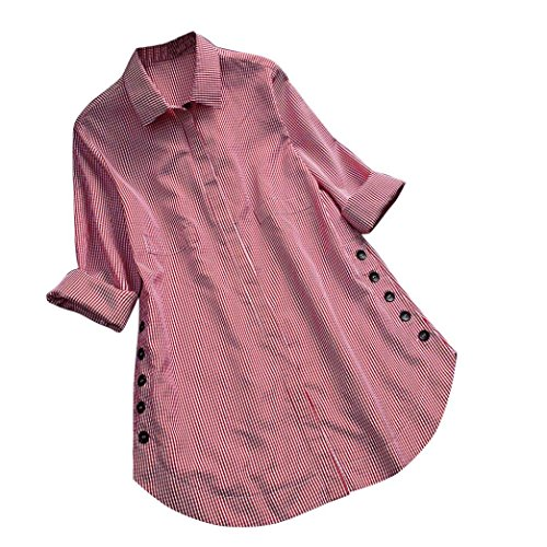 iDWZA Womes Plus Size Turn-Down Collar Lattice Button Casual Loose Tops Shirt Blouse (Red, 4XL)