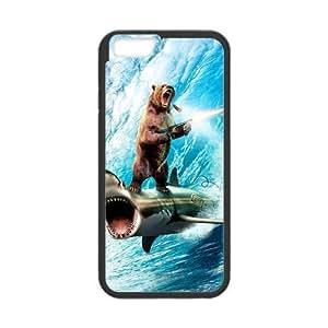 iphone 5c Case Funny Bruins Bear Riding on Shark Shooting Gun iphone 5c (Laser Technology)