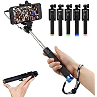 Foldable Mini cable Self Stick handheld telescopic tripod built-in shutter grip and iPhone 5S, 6, 6S, Samsung S3, S4, S5, S6,