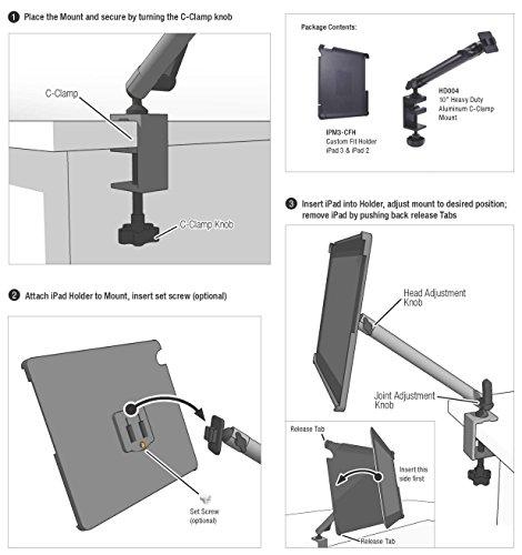 Arkon Custom Fit Apple iPad 4 3 2 Heavy Duty 10 inch C Clamp Tripod Table Desk or Cart Mount by ARKON (Image #3)