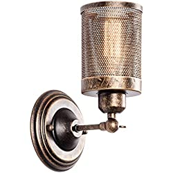 Wall Sconce Industrial Vintage 1-Light, MOONKIST Rustic Fixtures Edison Style Wall Light LED Retro Metal Single Head for Garage Gate Porch Adjustable Wall lamp Cage Nets (No Bulb)