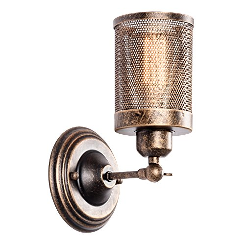 Adjustable Wall Fixture (Moonkist Wall Sconce Industrial Vintage 1-Light, Rustic Fixtures Edison Style Wall Light LED Retro Metal Single Head for Garage Gate Porch Adjustable Wall lamp Cage Nets (No Bulb))
