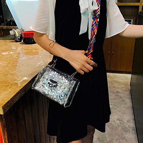 Ladies Metal Women Transparent Messenger Bags Muium Silver Shoulder Fashion Handbag Buckle Bag 2Pcs Crossbody Clutch Wallet Bags Sequins RwY0qRrX