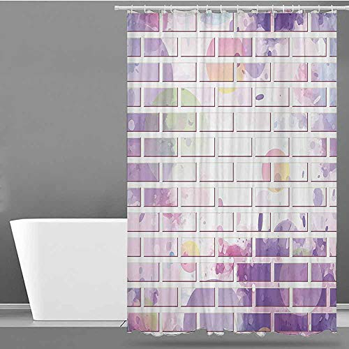 XXANS Shower Curtain with Hooks,Wall Decor,Shower Hooks are Included,W60x72L Violet and Lavander