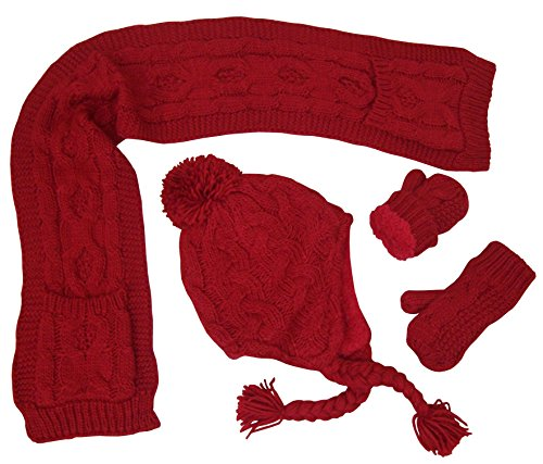 N'Ice Caps Big And Little Girls Cable Knit 3PC Set With Sherpa Lining (2-4yrs, Toddler - Red)