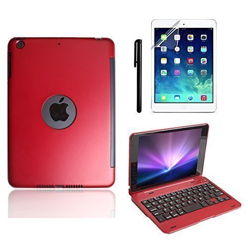 iPad Mini Keyboard Case, BoriYuan Bluetooth Wireless Keyboard Folio Flip Smart Cover For Apple iPad Mini 3/ iPad Mini 2/ iPad Mini 1 with Folding Stand and Auto Sleep/Wake Function, Red